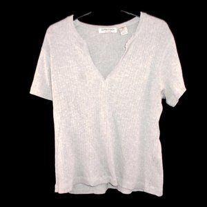 Extra Touch Sportswear Deep V Neck Ribbed Shirt 1X